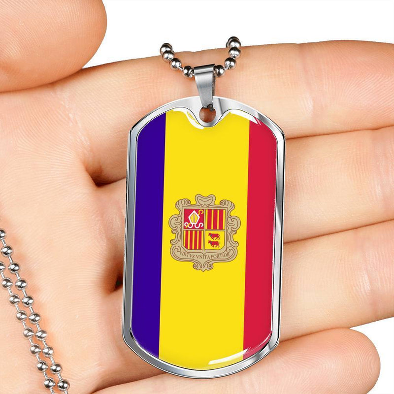 "Andorra Flag Love My Country Handmade Necklace Stainless Steel or 18k Gold Dog Tag w 24"" Ball Chain Express Your Love Gifts"