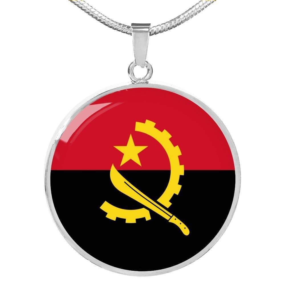 "Angola Flag Love My Country Handmade Circle Pendant Necklace Stainless Steel or 18k Gold Finish Adjustable 18""-22"" Express Your Love Gifts"