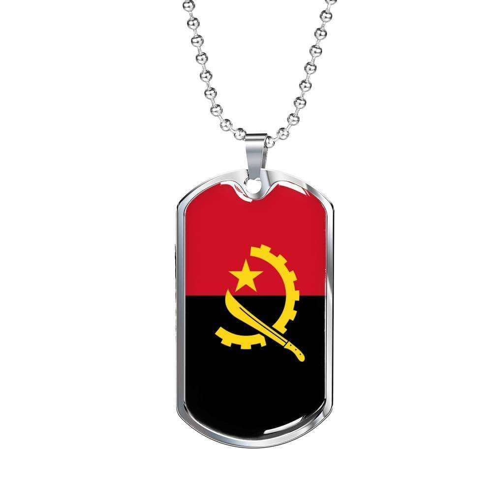"Angola Flag Love My Country Handmade Necklace Stainless Steel or 18k Gold Dog Tag w 24"" Ball Chain Express Your Love Gifts"