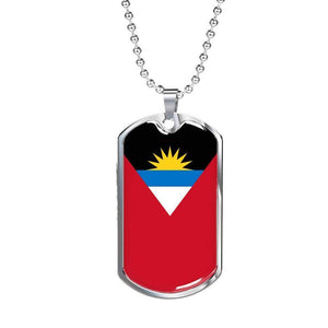 "Antigua and Barbuda Flag Love My Country Handmade Necklace Stainless Steel or 18k Gold Dog Tag w 24"" Ball Chain Express Your Love Gifts"