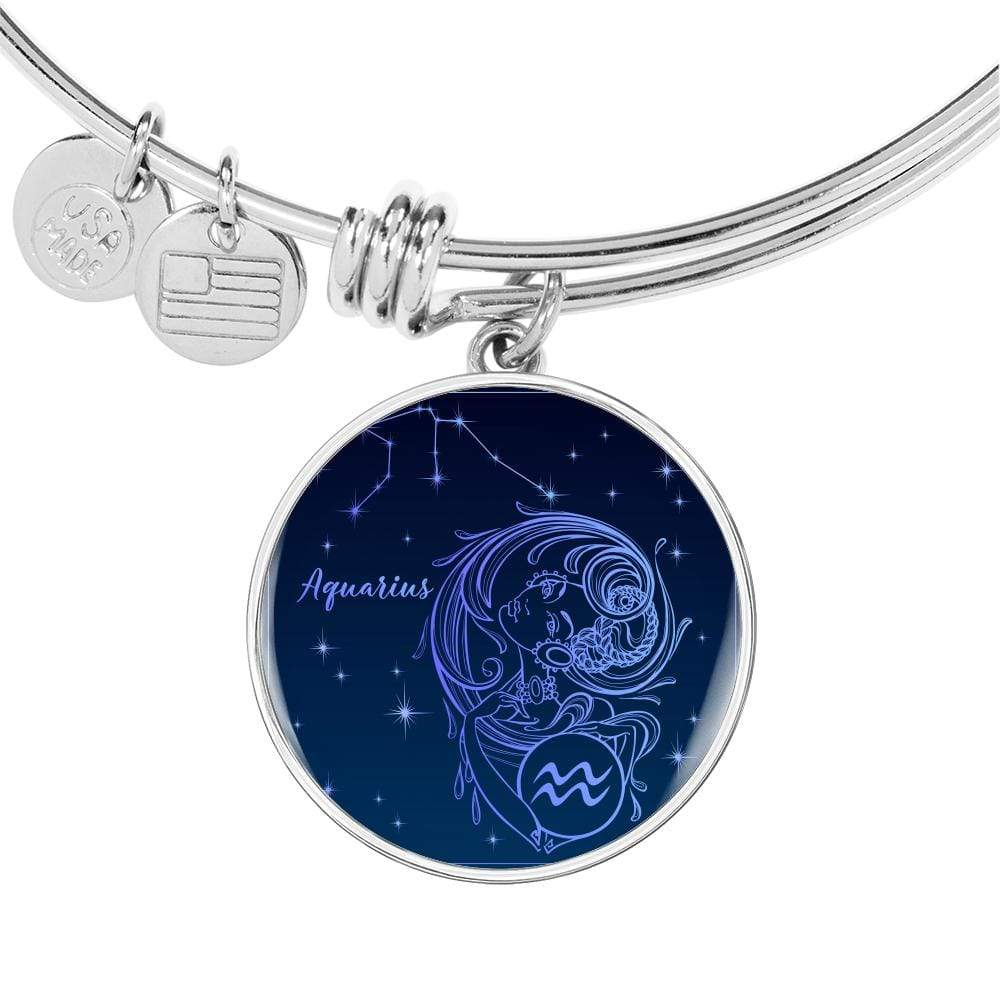 Aquarius Constellation Zodiac Queen Circle Bracelet Bangle Express Your Love Gifts