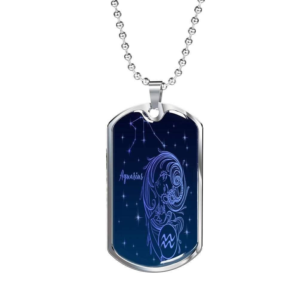 "Aquarius Zodiac Queen Constellation Necklace Dog Tag Stainless Steel or 18k Gold Finish 24"" Ball Chain Express Your Love Gifts"