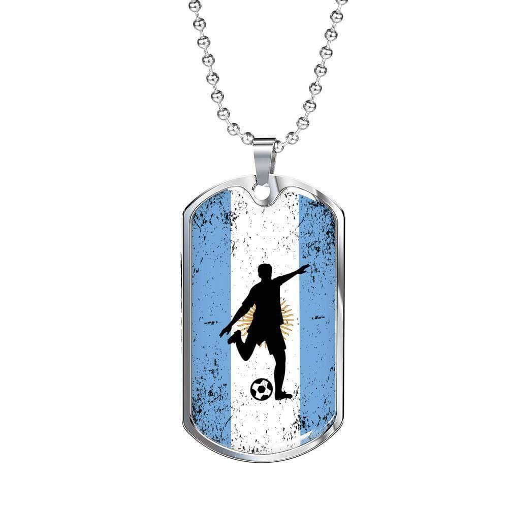 "Argentina Flag and Soccer/Futbol Necklace Stainless Steel or 18k Gold Military Dog Tag w 24"" Ball Chain Express Your Love Gifts"