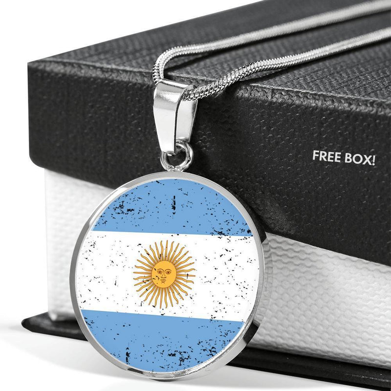 "Argentina Flag Love My Country Stainless Steel or 18k Gold Finish- Adjustable 18""-22"" Express Your Love Gifts"