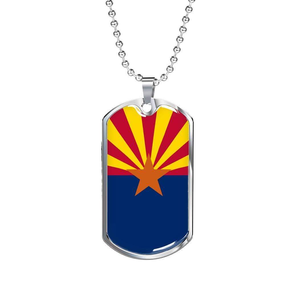 "Arizona Flag Handmade Pendant Necklace Stainless Steel or 18k Gold Military Dog Tag w 24"" Ball Chain Express Your Love Gifts"