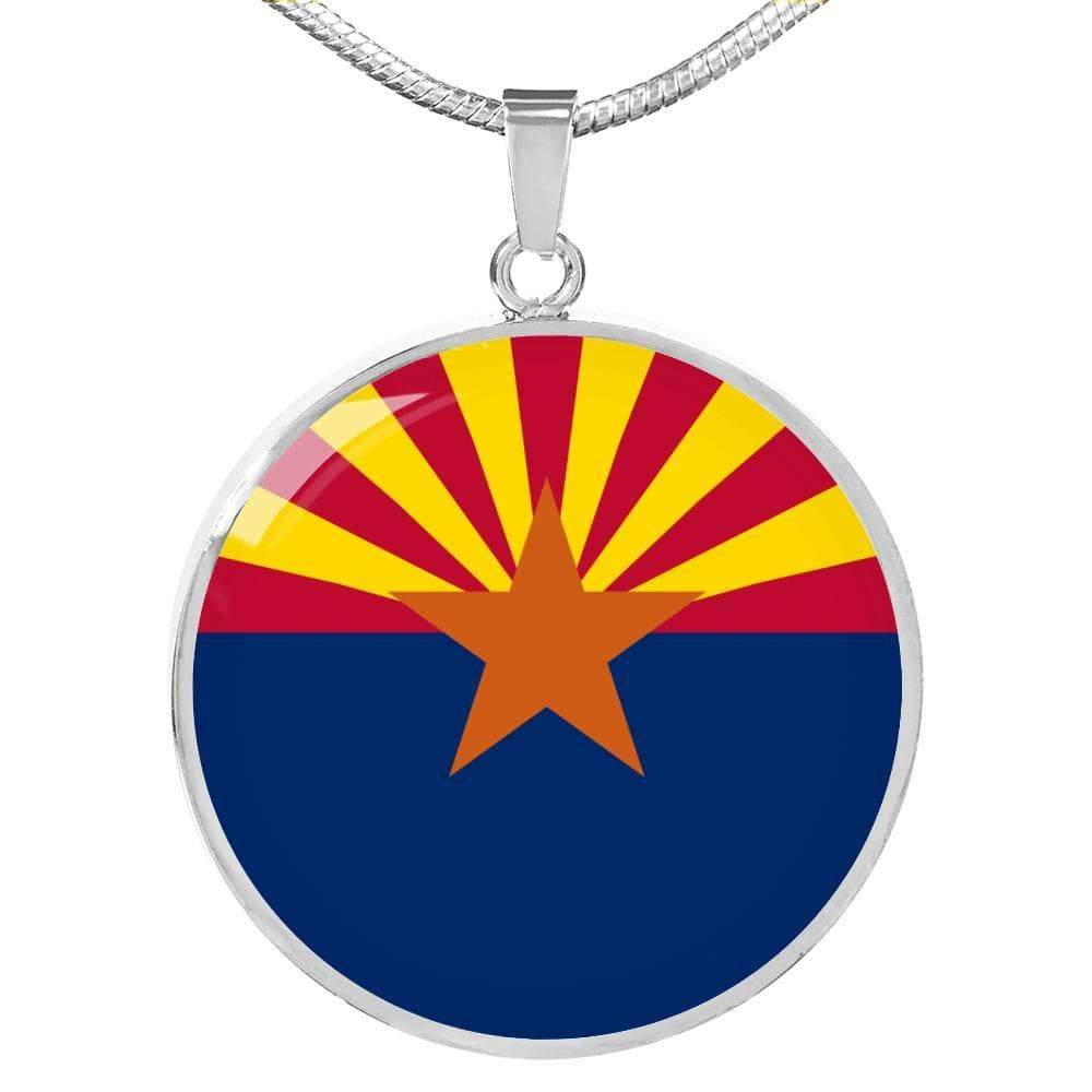 "Arizona State Flag Circle Pendant Stainless Steel or 18k Gold Finish Necklace Adjustable 18""-22"" Express Your Love Gifts"