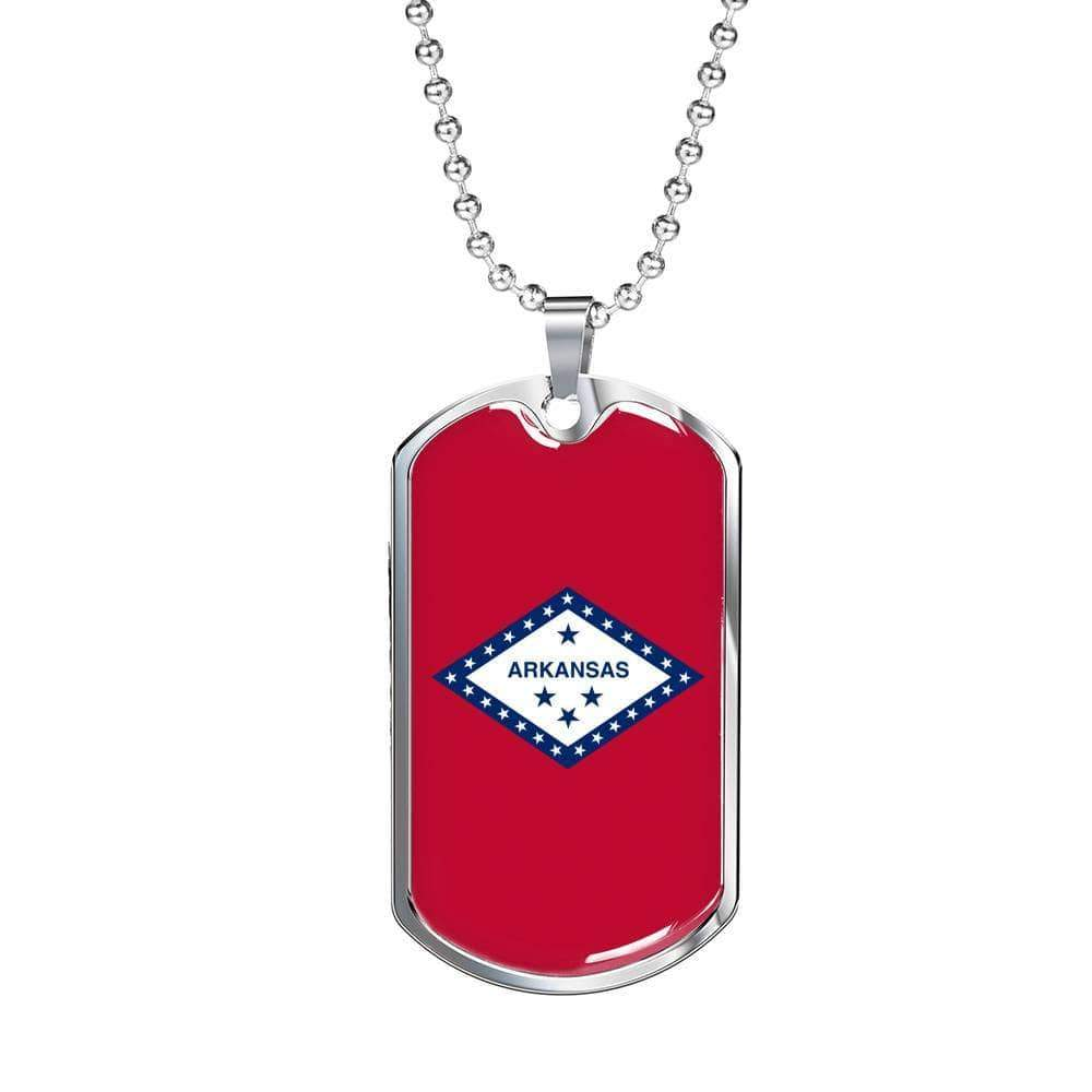 "Arkansas Flag Handmade Pendant Necklace Stainless Steel or 18k Gold Military Dog Tag w 24"" Ball Chain Express Your Love Gifts"