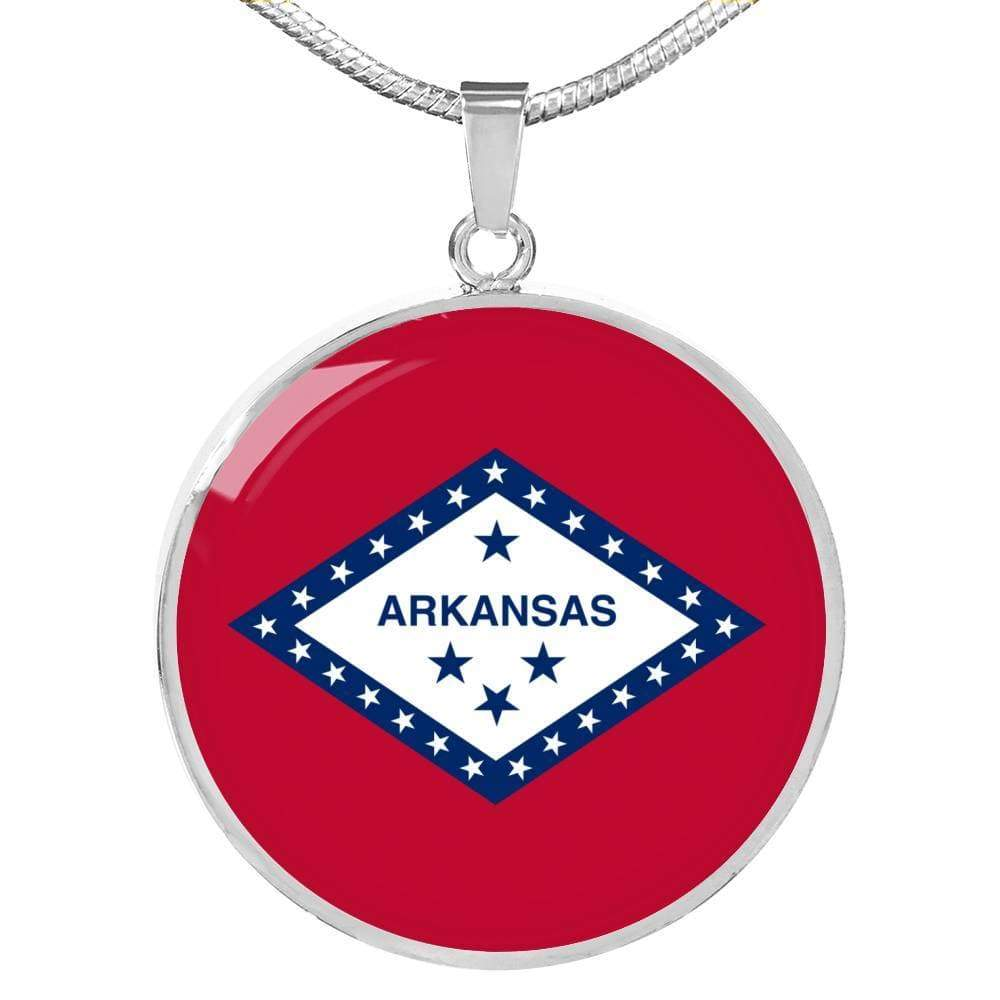 "Arkansas State Flag Circle Pendant Stainless Steel or 18k Gold Finish Necklace Adjustable 18""-22"" Express Your Love Gifts"