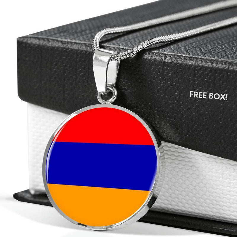 "Armenia Flag Love My Country Handmade Circle Pendant Necklace Stainless Steel or 18k Gold Finish Adjustable 18""-22"" Express Your Love Gifts"