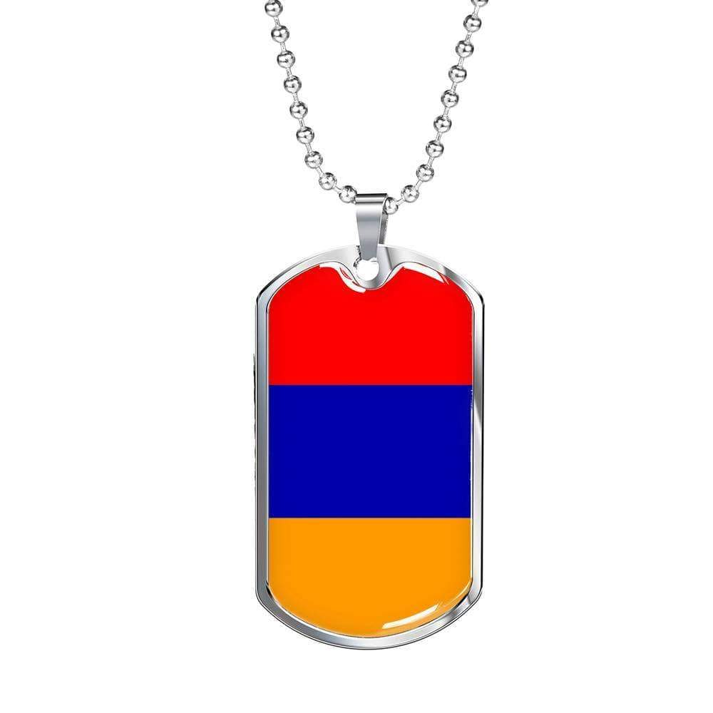 "Armenia Flag Love My Country Handmade Necklace Stainless Steel or 18k Gold Dog Tag w 24"" Ball Chain Express Your Love Gifts"