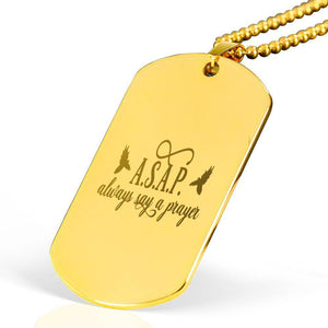 "ASAP Always Say a Prayer Bible Verse Necklace Stainless Steel 18k Gold Dog Tag 24"" Ball Chain Express Your Love Gifts"