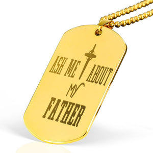 "Ask me about my Father Bible Verse Necklace Stainless Steel 18k Gold Dog Tag 24"" Ball Chain Express Your Love Gifts"