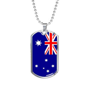 "Australia Flag Dog Tag Love My Country Pendant Necklace Stainless Steel or 18k Gold Military Dog Tag w 24"" Ball Chain Express Your Love Gifts"