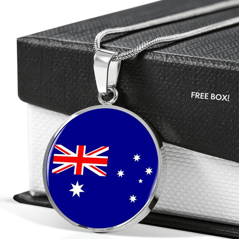 "Australia Flag Love My Country Handmade Circle Pendant Necklace Stainless Steel or 18k Gold Finish Adjustable 18""-22"" Express Your Love Gifts"