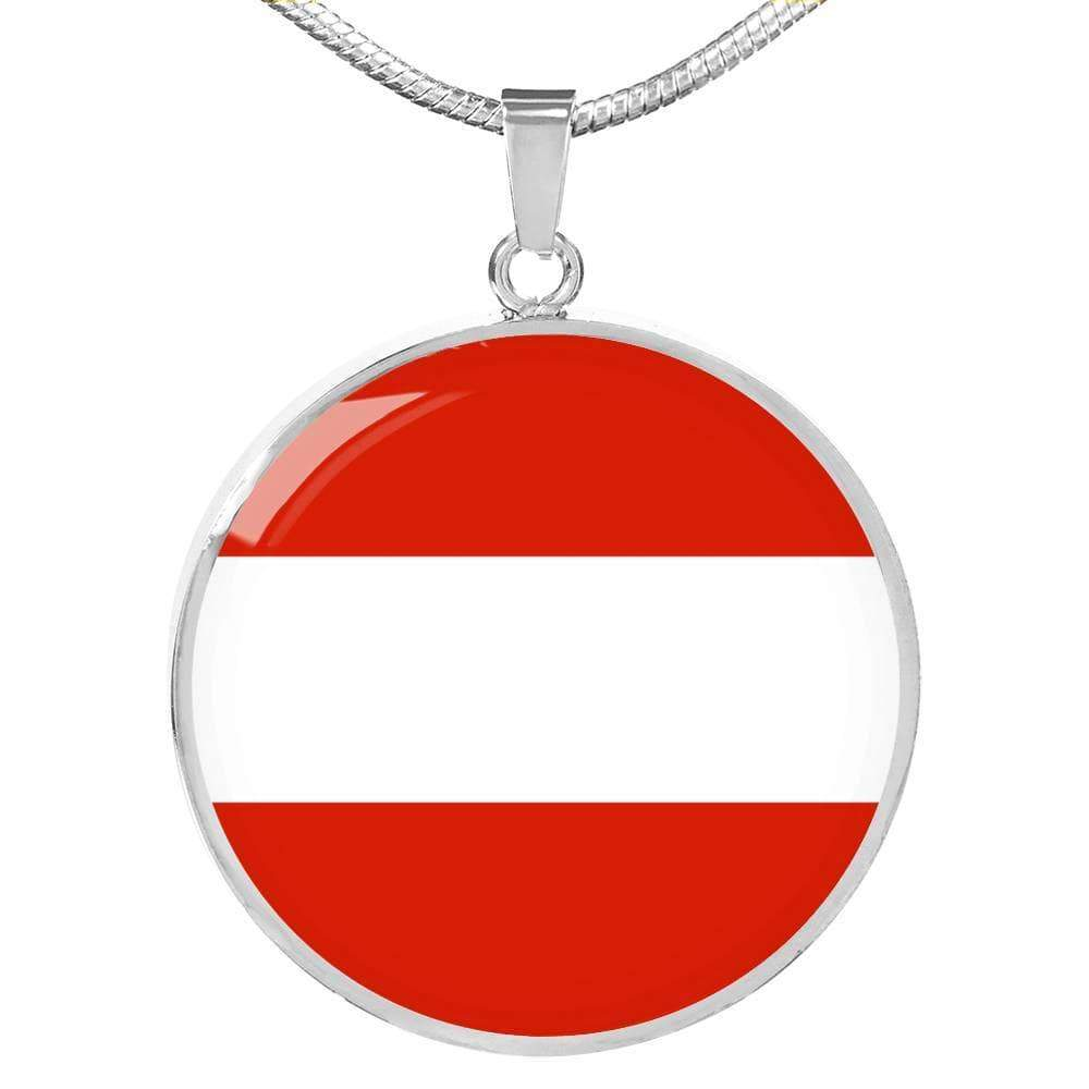 "Austria Flag Love My Country Handmade Circle Pendant Necklace Stainless Steel or 18k Gold Finish Adjustable 18""-22"" Express Your Love Gifts"