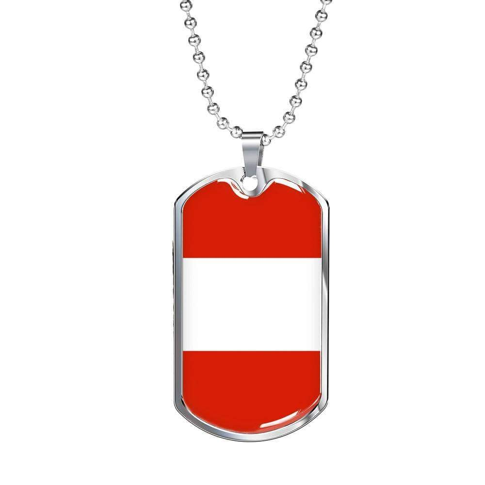 "Austria Flag Love My Country Handmade Necklace Stainless Steel or 18k Gold Dog Tag w 24"" Ball Chain Express Your Love Gifts"