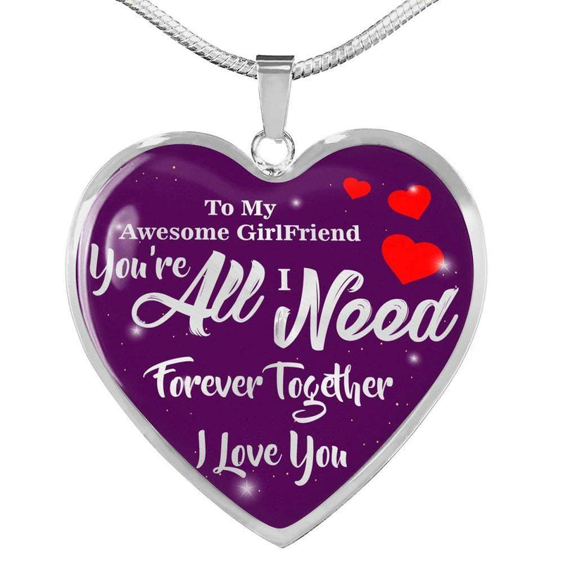 "To My Girlfriend Stainless Steel or 18k Gold Heart Pendant Necklace 18""-22"" - Express Your Love Gifts"