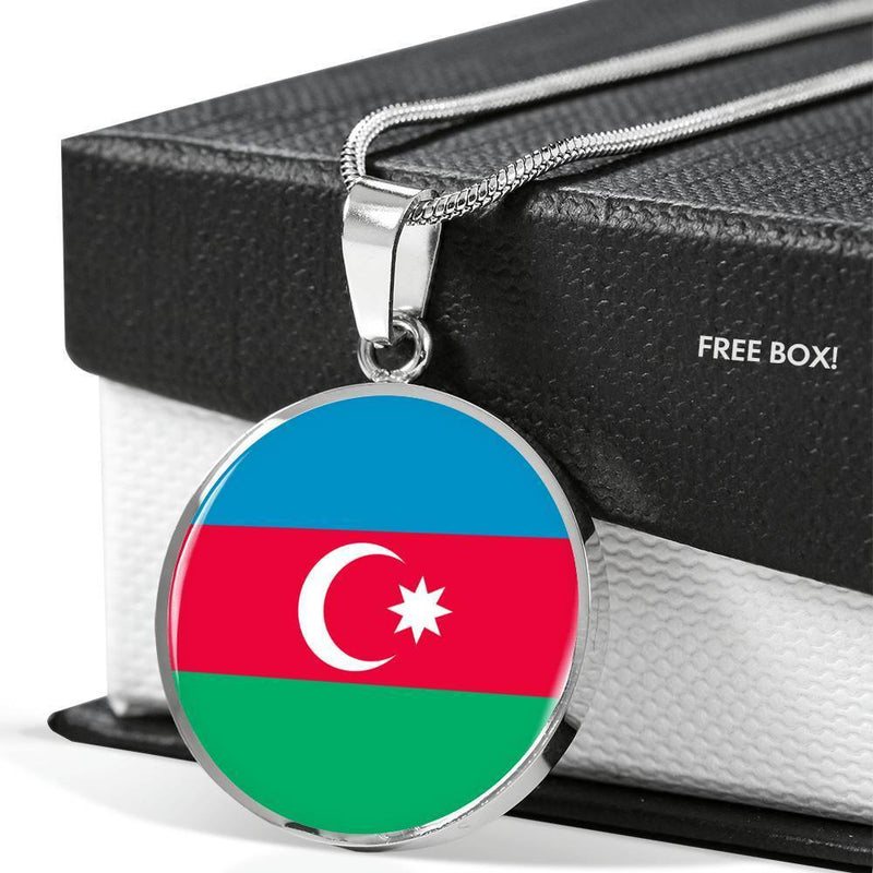 "Azerbaijan Flag Love My Country Handmade Circle Pendant Necklace Stainless Steel or 18k Gold Finish Adjustable 18""-22"" Express Your Love Gifts"