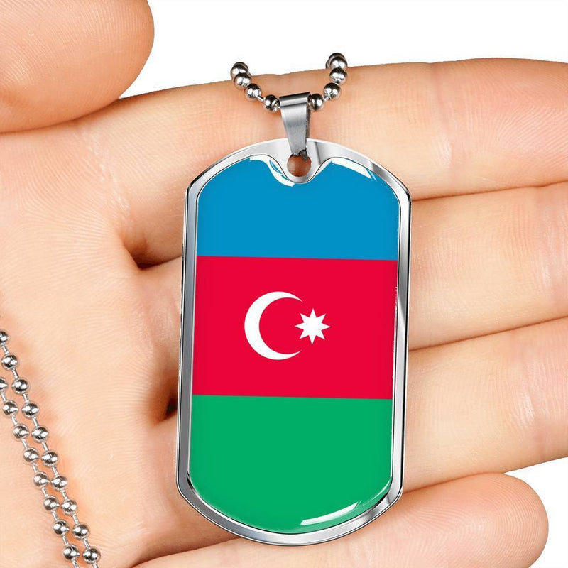 "Azerbaijan Flag Love My Country Handmade Necklace Stainless Steel or 18k Gold Dog Tag w 24"" Ball Chain Express Your Love Gifts"