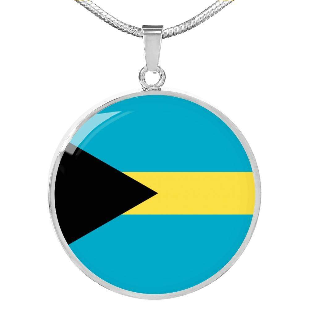 "Bahamas Flag Love My Country Handmade Circle Pendant Necklace Stainless Steel or 18k Gold Finish Adjustable 18""-22"" Express Your Love Gifts"