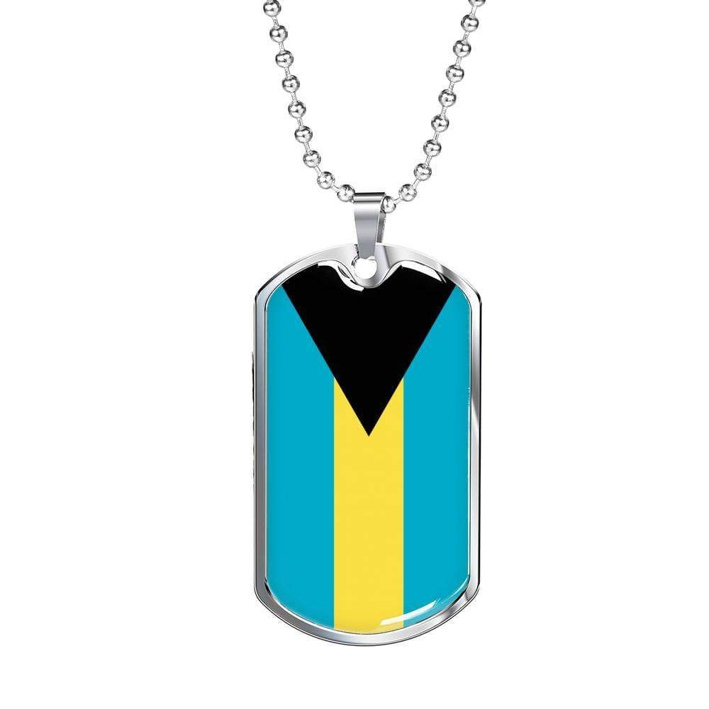 "Bahamas Flag Love My Country Handmade Necklace Stainless Steel or 18k Gold Dog Tag w 24"" Ball Chain Express Your Love Gifts"