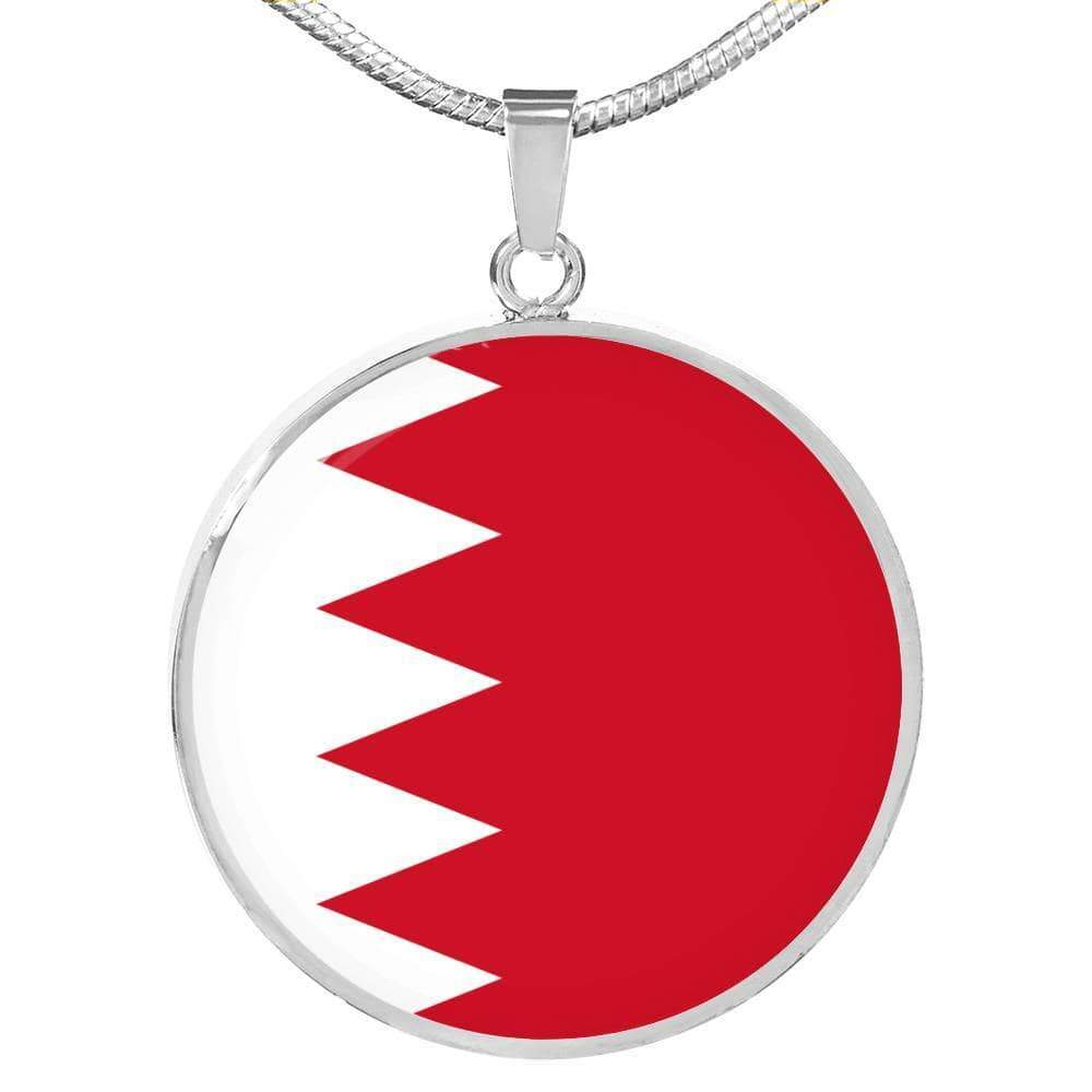 "Bahrain Flag Love My Country Handmade Circle Pendant Necklace Stainless Steel or 18k Gold Finish Adjustable 18""-22"" Express Your Love Gifts"