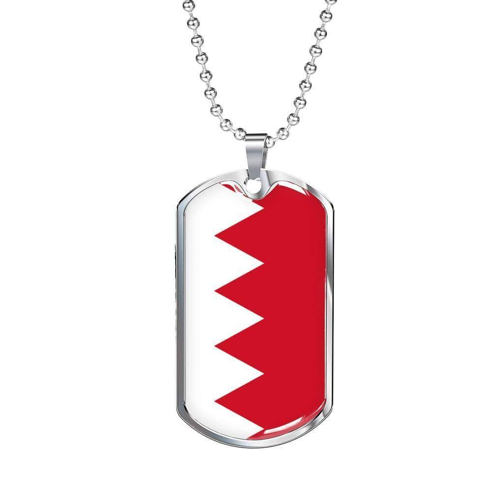 "Bahrain Flag Love My Country Handmade Necklace Stainless Steel or 18k Gold Dog Tag w 24"" Ball Chain Express Your Love Gifts"
