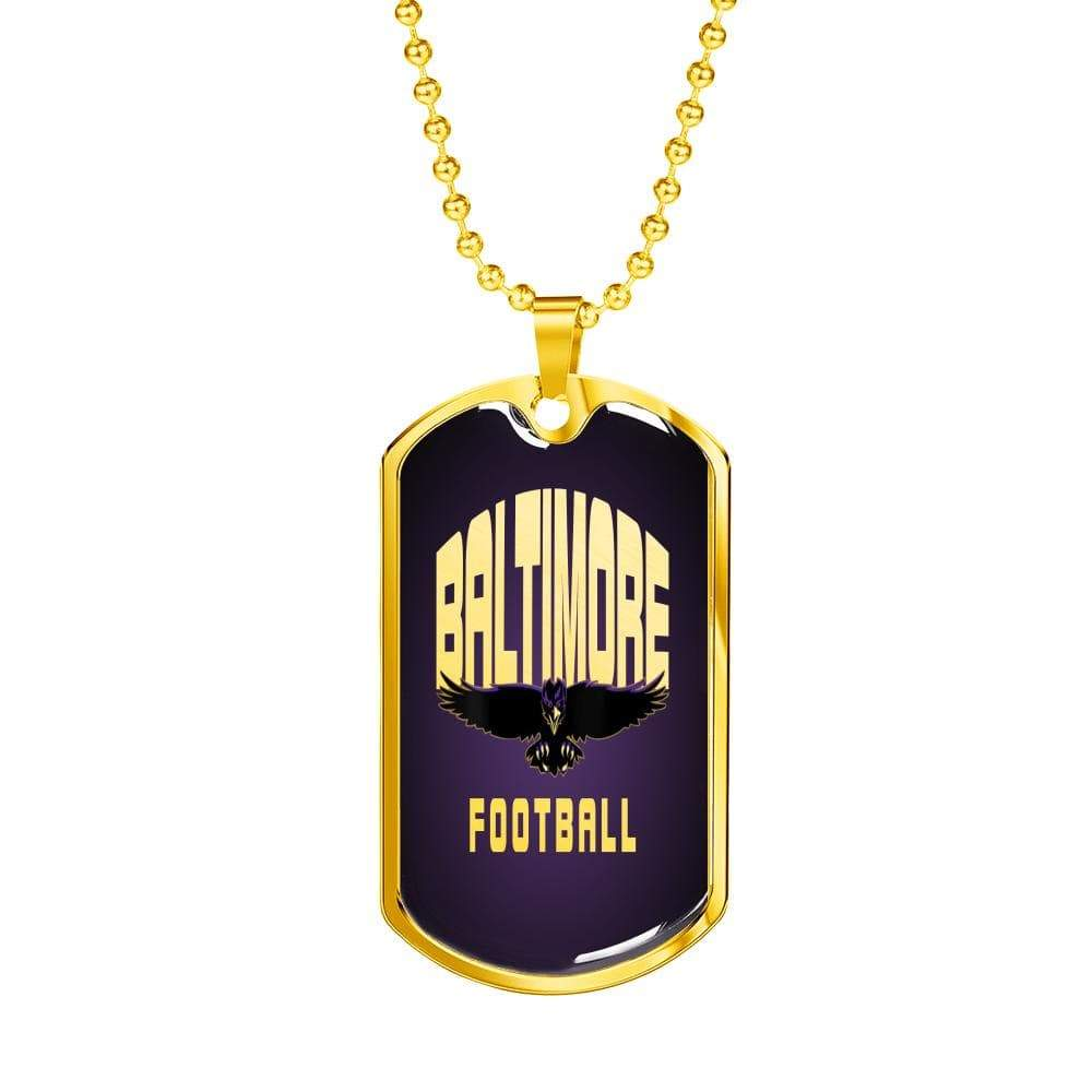 "Baltimore Football Necklace Stainless Steel or 18k Gold Dog Tag w 24"" Ball Chain Express Your Love Gifts"