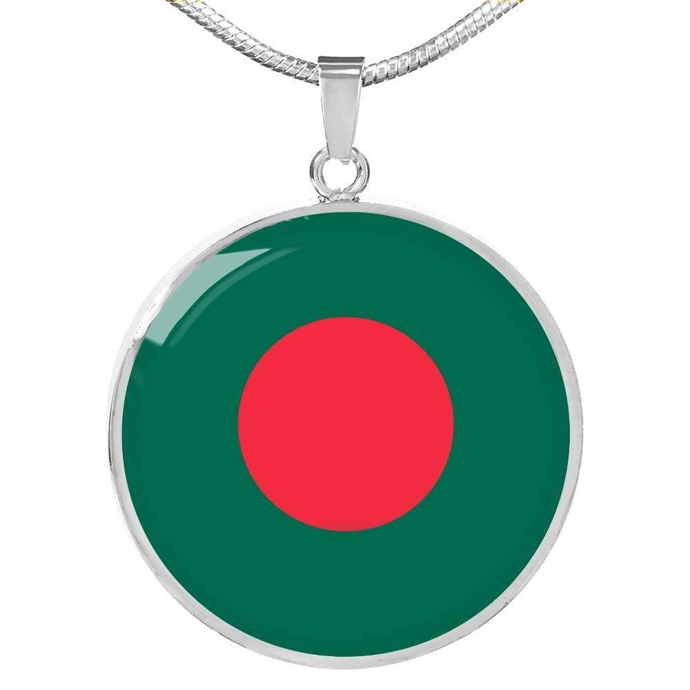 "Bangladesh Flag Love My Country Handmade Circle Pendant Necklace Stainless Steel or 18k Gold Finish Adjustable 18""-22"" Express Your Love Gifts"