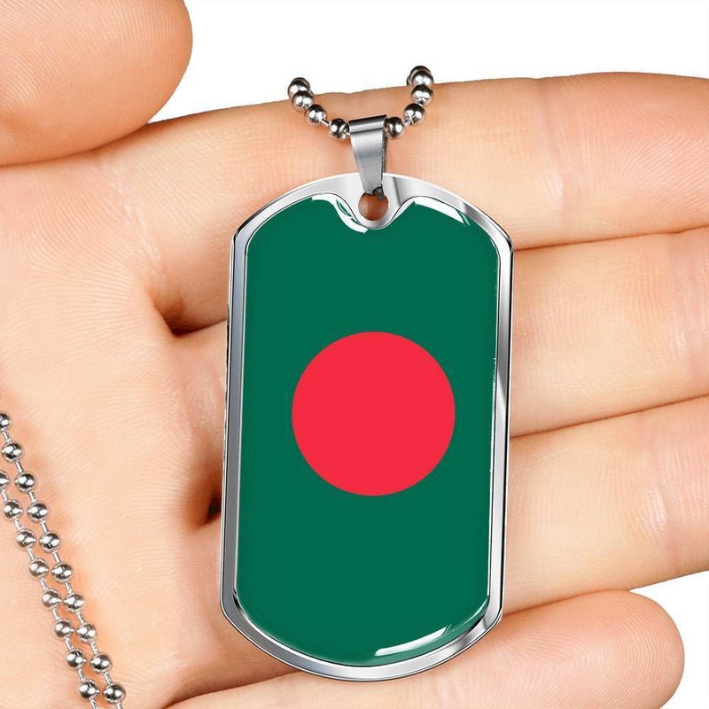 "Bangladesh Flag Love My Country Handmade Necklace Stainless Steel or 18k Gold Dog Tag w 24"" Ball Chain Express Your Love Gifts"