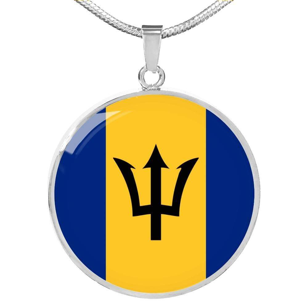"Barbados Flag Love My Country Handmade Circle Pendant Necklace Stainless Steel or 18k Gold Finish Adjustable 18""-22"" Express Your Love Gifts"