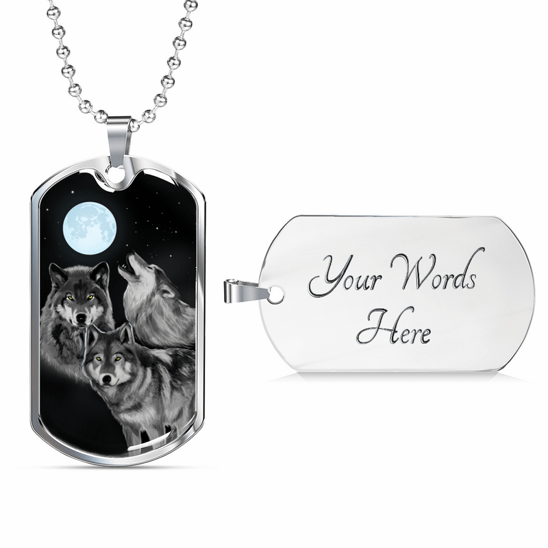 "Bark At The Moon Wolf Necklace Stainless Steel or 18k Gold Dog Tag w 24"" Chain - Express Your Love Gifts"