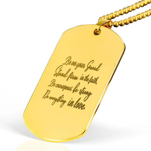 "Be on your Guard Bible Verse Necklace Stainless Steel 18k Gold Dog Tag 24"" Ball Chain Express Your Love Gifts"