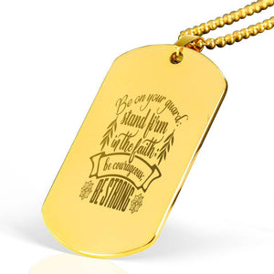 "Be on your guard Corinthians 1613-14 Bible Verse Necklace Stainless Steel 18k Gold Dog Tag 24"" Ball Chain Express Your Love Gifts"