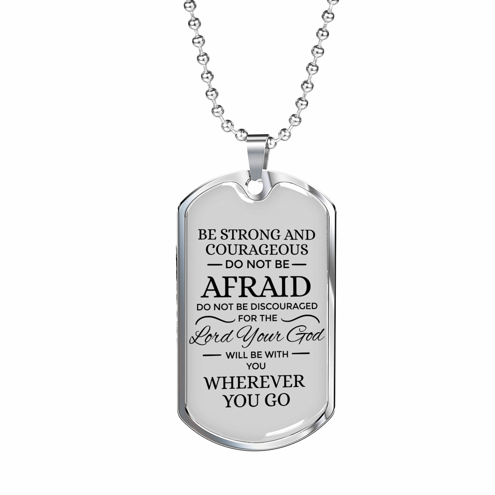 "Be Strong God Is With You Christian Faith Jewelry Joshua Necklace Stainless Steel or 18k Gold Military Dog Tag w 24"" Ball Chain Express Your Love Gifts"