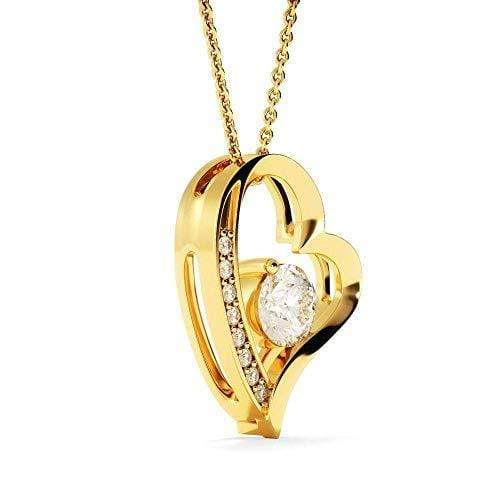 "Behind You Cubic Zirconia Love Heart Pendant 18k Gold Finish or Stainless Steel 18"" Necklace Express Your Love Gifts"