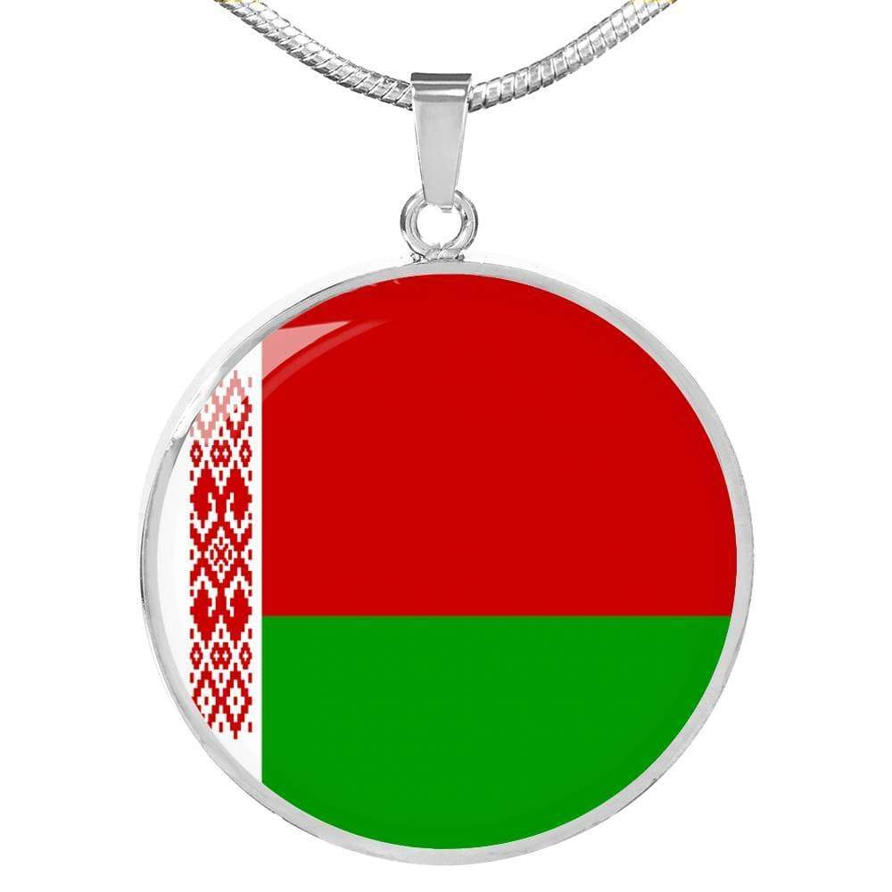 "Belarus Flag Love My Country Handmade Circle Pendant Necklace Stainless Steel or 18k Gold Finish Adjustable 18""-22"" Express Your Love Gifts"