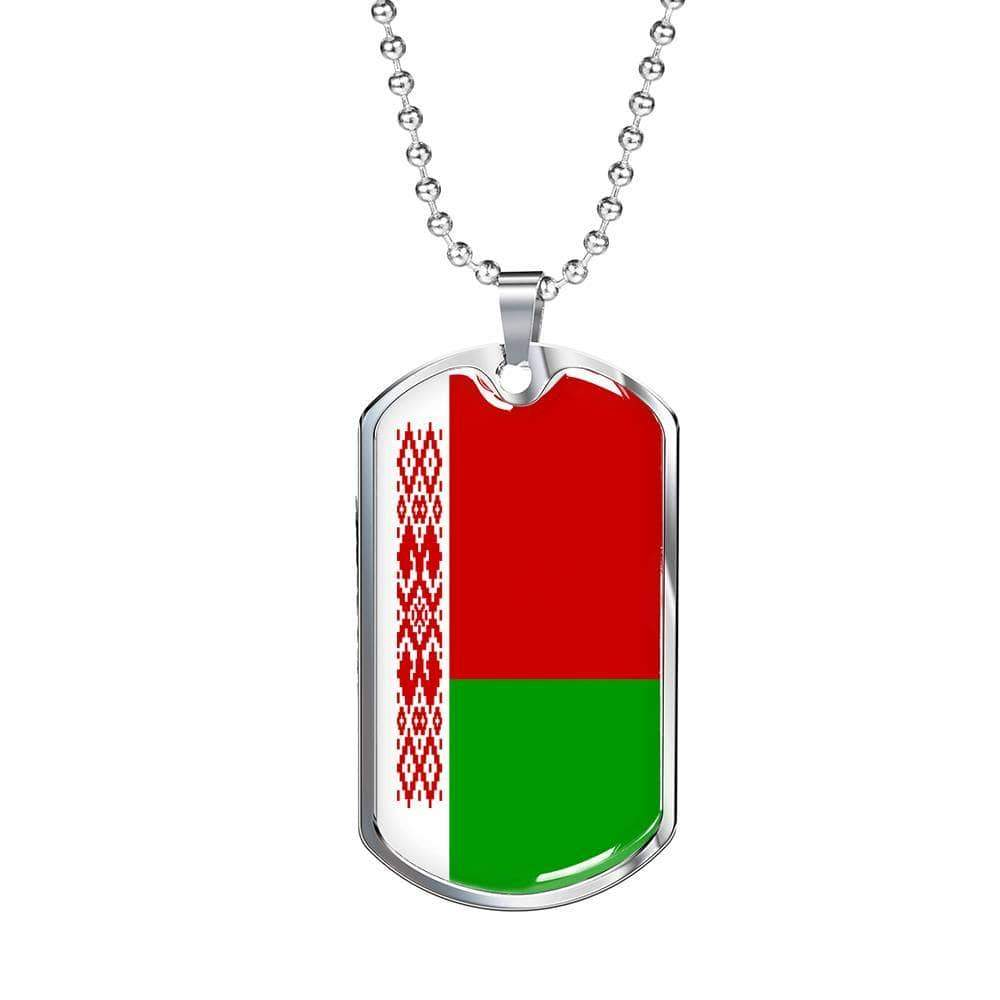 "Belarus Flag Love My Country Handmade Necklace Stainless Steel or 18k Gold Dog Tag w 24"" Ball Chain Express Your Love Gifts"
