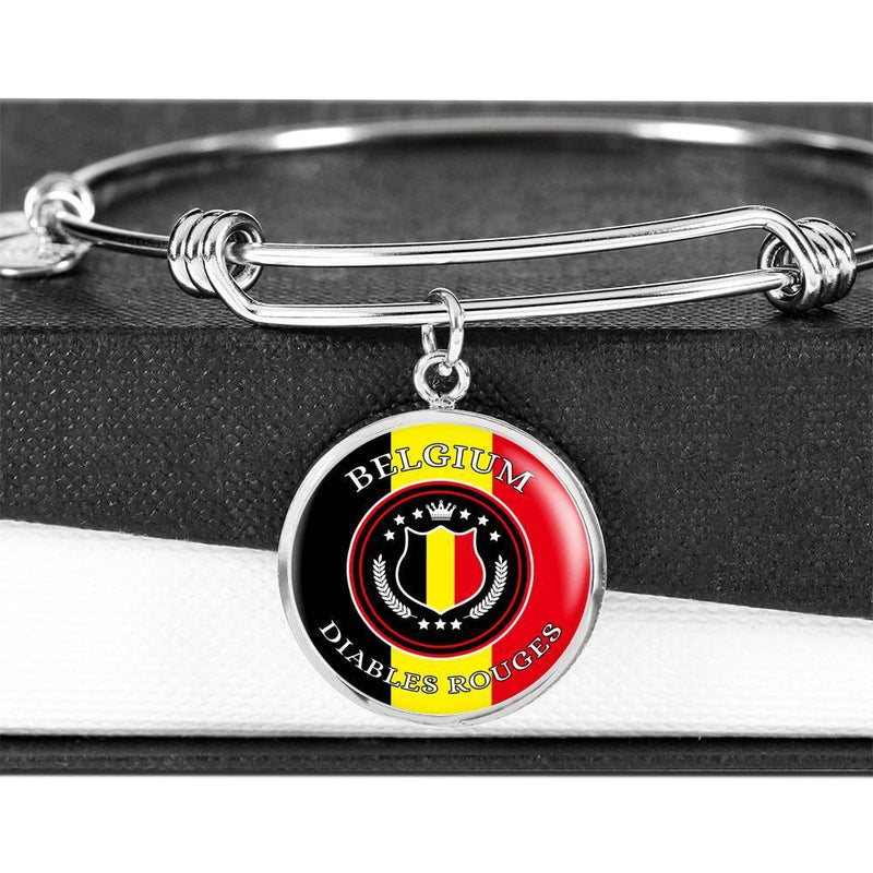 Belgium Diables Rouges Futbol/Soccer Circle Stainless Steel or 18k Gold Bracelet Bangle - Express Your Love Gifts