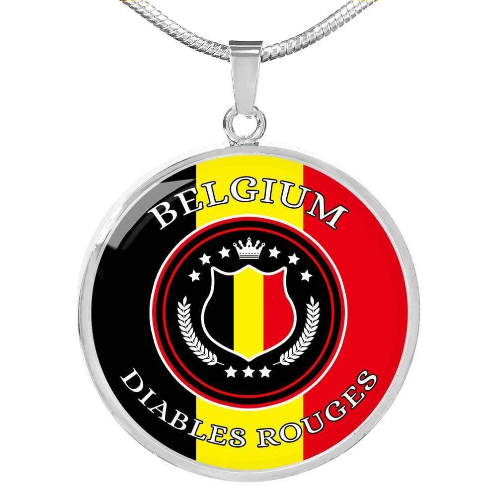 Belgium Diables Rouges Futbol/Soccer Circle Pendant Necklace - Express Your Love Gifts