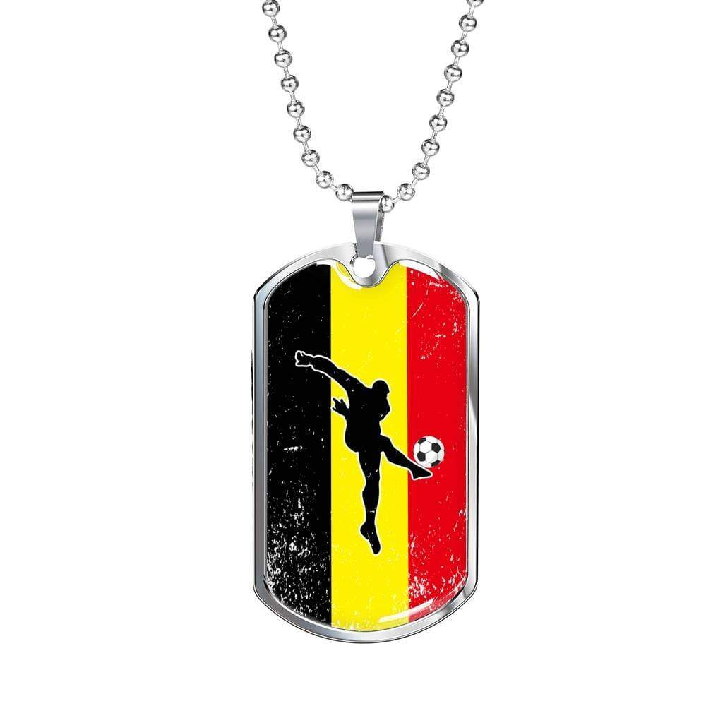 "Belgium Diables Rouges Futbol/Soccer Necklace Stainless Steel or 18k Gold Military Dog Tag w 24"" Ball Chain Express Your Love Gifts"