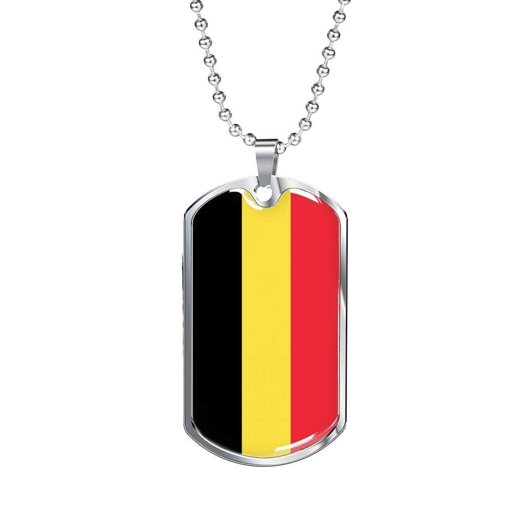"Belgium Flag Love My Country Pendant Necklace Stainless Steel or 18k Gold Military Dog Tag w 24"" Ball Chain Express Your Love Gifts"