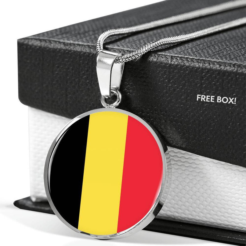 "Belgium Flag Love My Country Stainless Steel or 18k Gold Finish- Adjustable 18""-22"" Express Your Love Gifts"