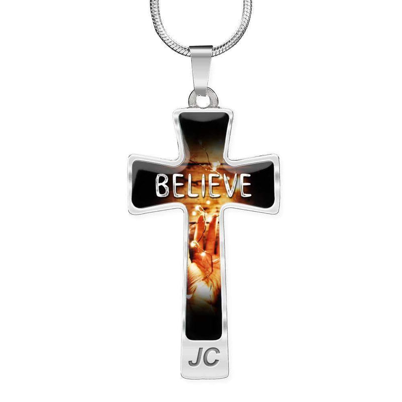 Believe Bible Verse Engravable Cross Pendant Necklace Express Your Love Gifts