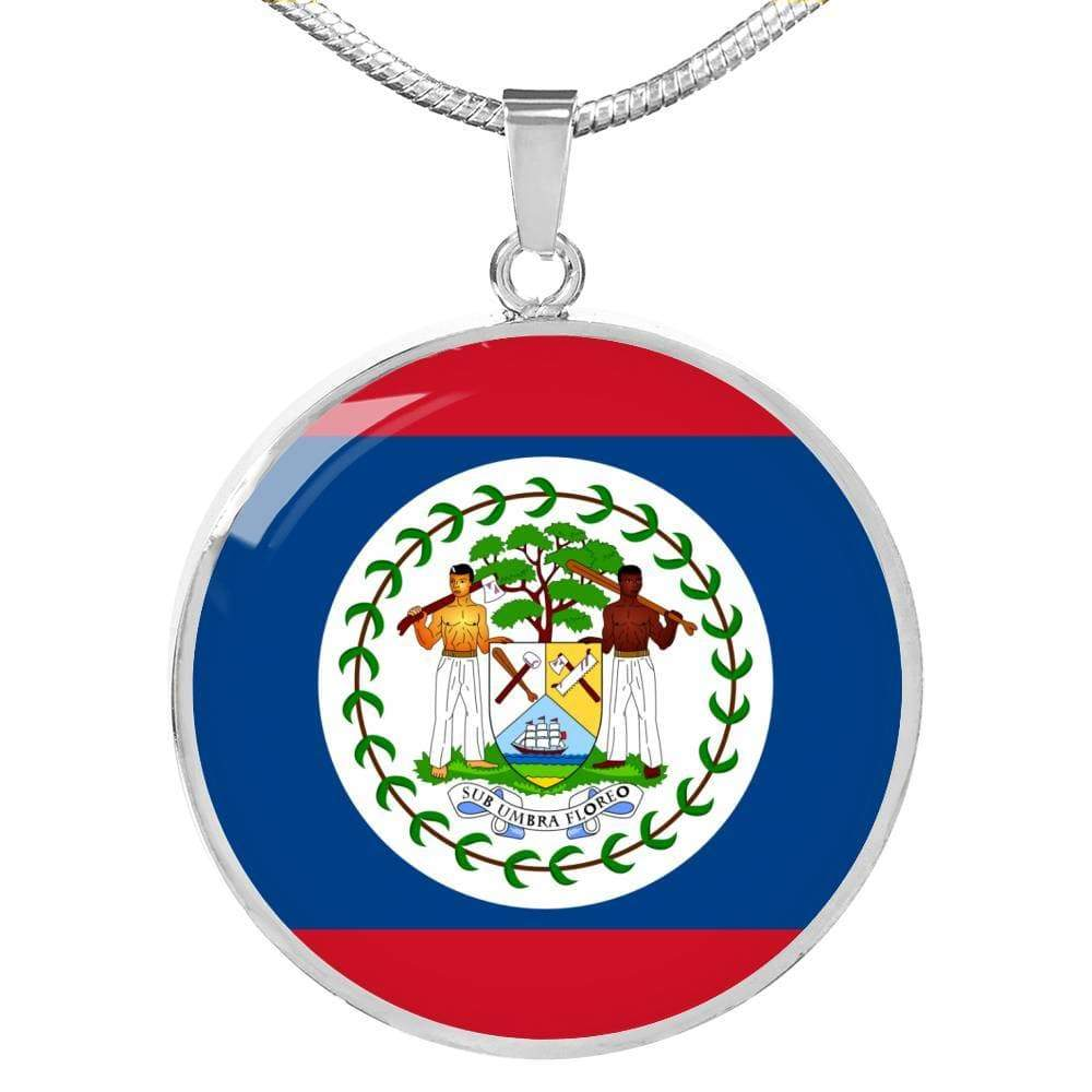 "Belize Flag Love My Country Handmade Circle Pendant Necklace Stainless Steel or 18k Gold Finish Adjustable 18""-22"" Express Your Love Gifts"