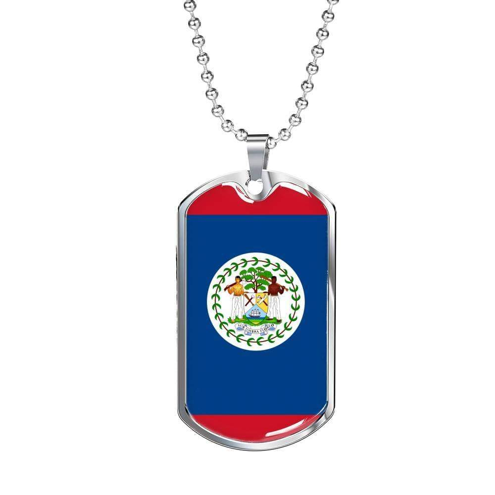 "Belize Flag Love My Country Handmade Necklace Stainless Steel or 18k Gold Dog Tag w 24"" Ball Chain Express Your Love Gifts"