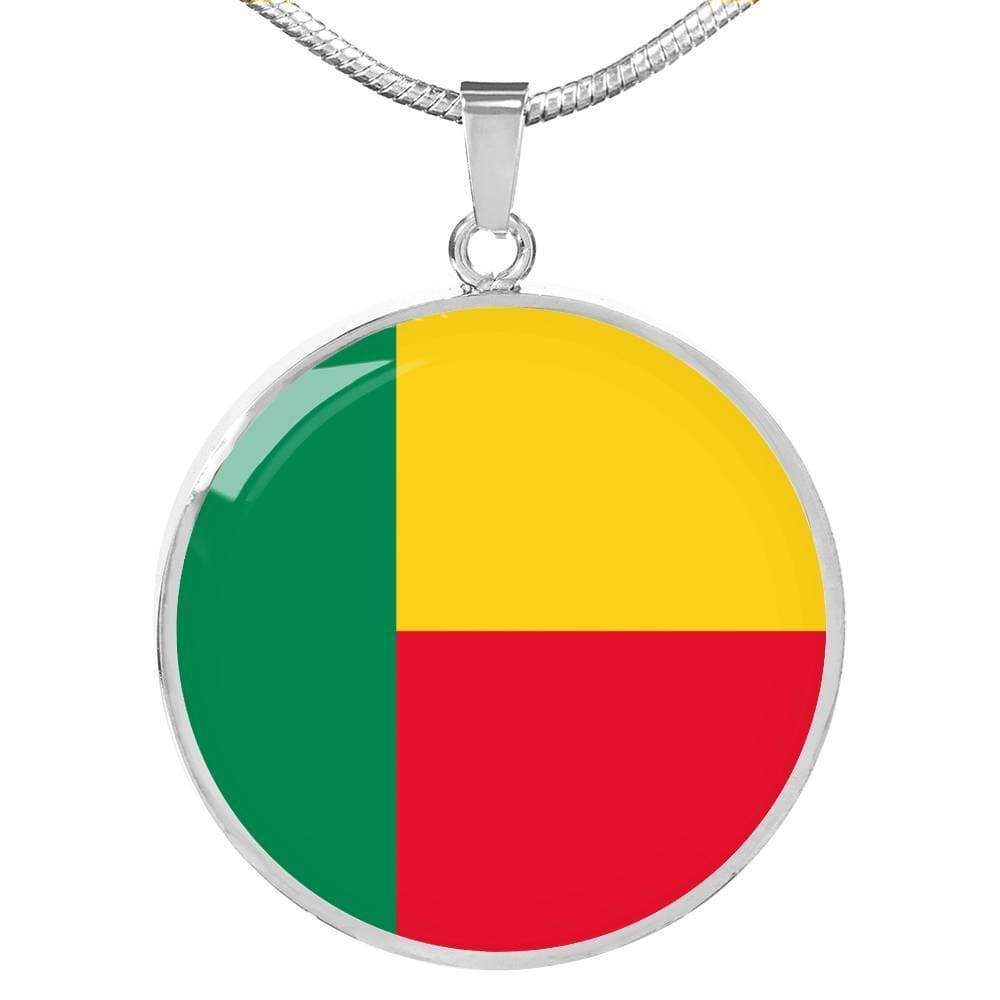 "Benin Flag Love My Country Handmade Circle Pendant Necklace Stainless Steel or 18k Gold Finish Adjustable 18""-22"" Express Your Love Gifts"