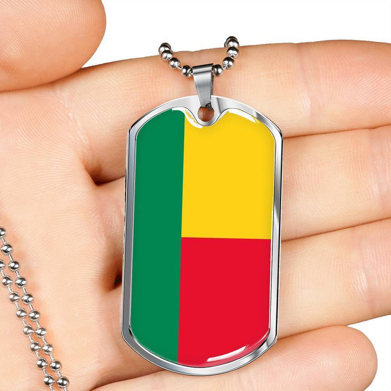 "Benin Flag Love My Country Handmade Necklace Stainless Steel or 18k Gold Dog Tag w 24"" Ball Chain Express Your Love Gifts"