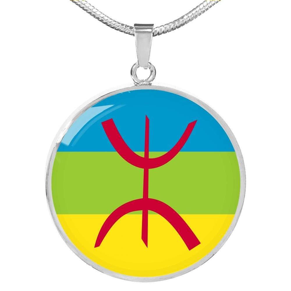 "Berber Flag Circle Pendant Necklace Stainless Steel or 18k Gold Finish 18""-22"" Express Your Love Gifts"