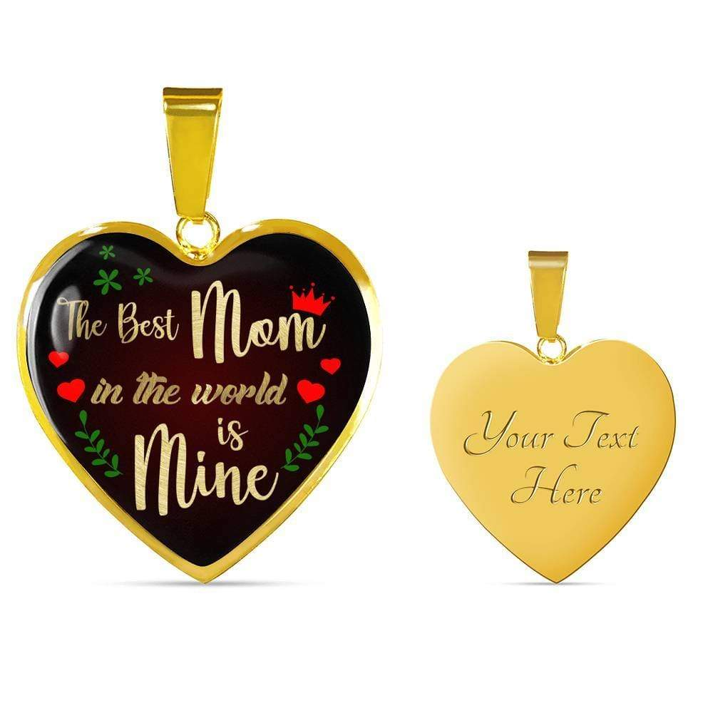 "Best Mom in the World is Mine Engravable 18k Gold Finish Heart Pendant Necklace Adjustable 18""-22"" Express Your Love Gifts"